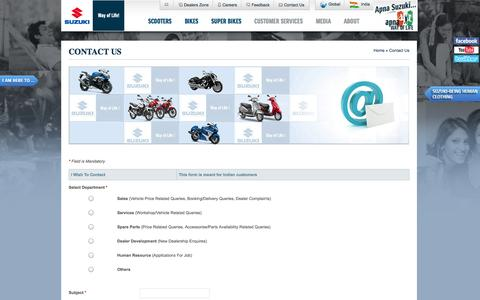 Screenshot of Contact Page suzukimotorcycle.co.in - Contact Us | Suzuki Motorcycle India  Ltd. - captured Sept. 19, 2014