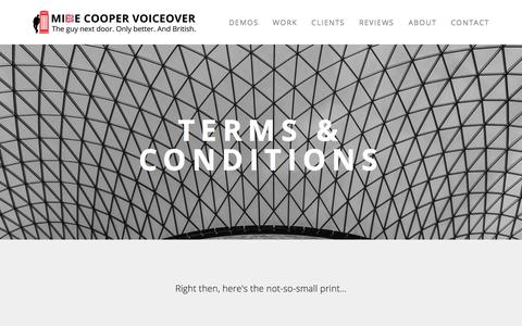 Screenshot of Terms Page mikecoopervoiceover.com - Terms & Conditions — Mike Cooper - British Voice Over Artist - captured Oct. 19, 2017
