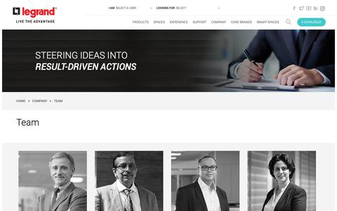 Screenshot of Team Page legrand.co.in - Meet the leadership team that is spearheading growth at Legrand India. - captured May 25, 2019