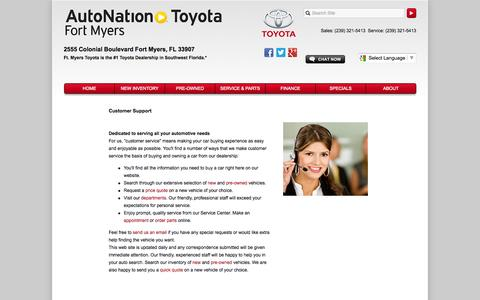 Screenshot of Support Page autonationtoyotafortmyers.com - Customer Service Department from AutoNation Toyota Fort Myers - captured Sept. 23, 2014