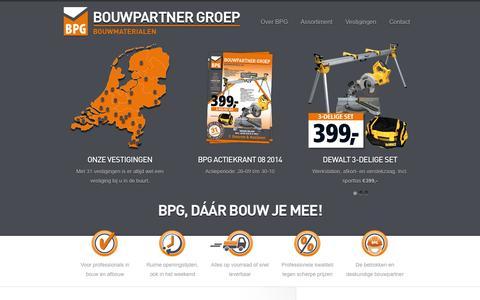 Screenshot of Home Page bpg.nl - BPG Bouwpartner Groep - captured Oct. 7, 2014