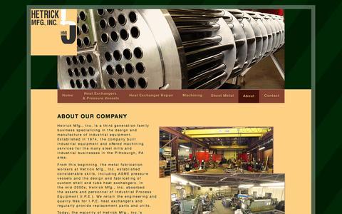 Screenshot of About Page hetrickmfg.com - Hetrick Mfg., Inc. | About Us - captured Jan. 28, 2016