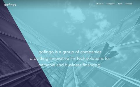 Screenshot of About Page gofingo.com - Innovative FinTech - gofingo - captured Oct. 10, 2018