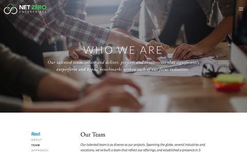 Screenshot of Team Page netzeroenterprises.com - Team — Net Zero Enterprises - captured Sept. 21, 2018