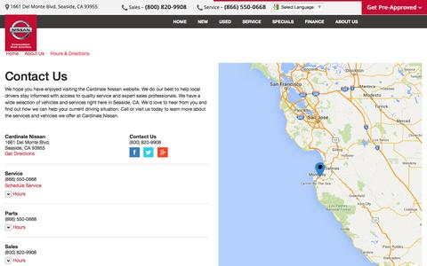 Screenshot of Contact Page Maps & Directions Page cardinalenissan.com - Contact Cardinale Nissan in Seaside California - captured May 1, 2016