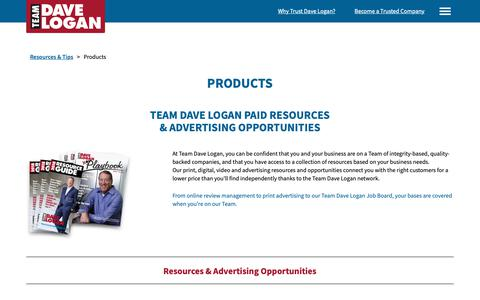Screenshot of Products Page teamdavelogan.com - Products   Team Dave Logan - captured Oct. 19, 2018