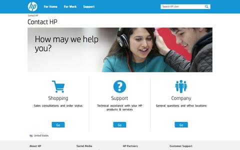 Screenshot of Contact Page hp.com - Contact HP | HP® Official Site - captured Oct. 22, 2014