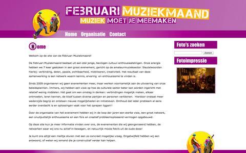 Screenshot of Home Page februarimuziekmaand.nl - Februari Muziekmaand   Muziek moet je meemaken - captured Oct. 7, 2014