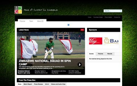 Screenshot of Home Page zimcricket.org - Zimbabwe Cricket - captured Oct. 6, 2014