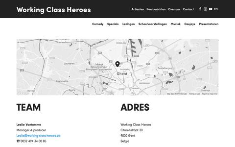 Screenshot of Contact Page working-class-heroes.be - Contact — Working Class Heroes - captured Oct. 20, 2018