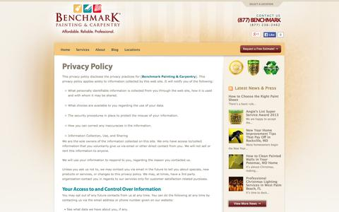 Screenshot of Privacy Page benchmarkpainting.com - Privacy Policy | Benchmark Painting - captured Oct. 5, 2014