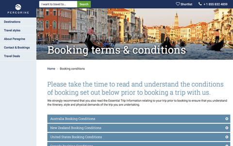 Screenshot of Terms Page peregrineadventures.com - Booking terms & conditions | Peregrine Adventures US - captured Jan. 12, 2017