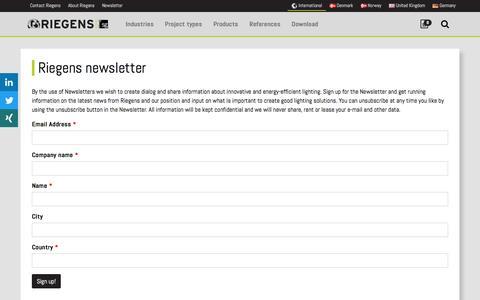 Screenshot of Signup Page riegens.com - Riegens newsletter | Riegens - captured Dec. 22, 2016