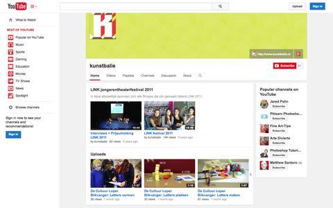Screenshot of YouTube Page youtube.com - kunstbalie  - YouTube - captured Oct. 23, 2014