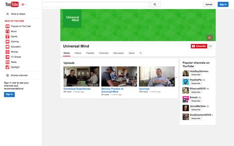 Screenshot of YouTube Page youtube.com - Universal Mind  - YouTube - captured Oct. 24, 2014