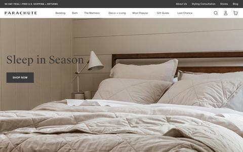 Screenshot of Home Page parachutehome.com - Parachute – Home happens here. Bedding, bath linens, decor and more. | Parachute - captured Nov. 9, 2019