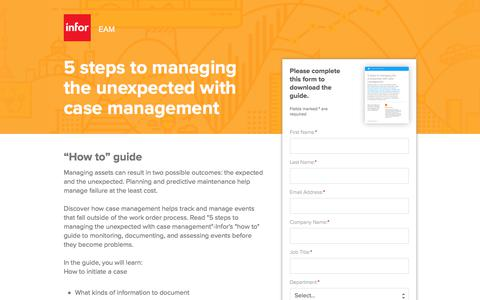 Screenshot of Landing Page infor.com - Infor EAM: How to Guide to Managing Assets - captured April 1, 2018