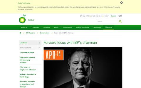 Screenshot of bp.com - Forward focus with BP's chairman | Conversations | BP Magazine | BP - captured Oct. 1, 2017
