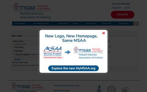 Screenshot of Login Page mymsaa.org - MSAA: The Multiple Sclerosis Association Of America - captured Jan. 13, 2020