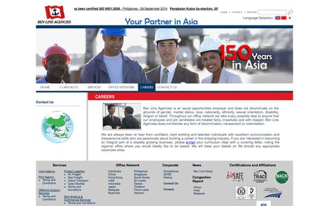 Screenshot of Jobs Page benlineagencies.com - Career | Welcome to Ben Line Agencies - captured Sept. 30, 2014