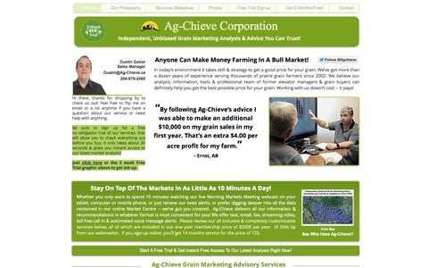 Screenshot of Home Page ag-chieve.ca - ag-chieve - captured Oct. 4, 2014