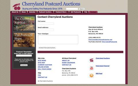 Screenshot of Contact Page cherrylandpostcards.com - Cherryland Auctions - Contact Cherryland Auctions - captured June 15, 2016