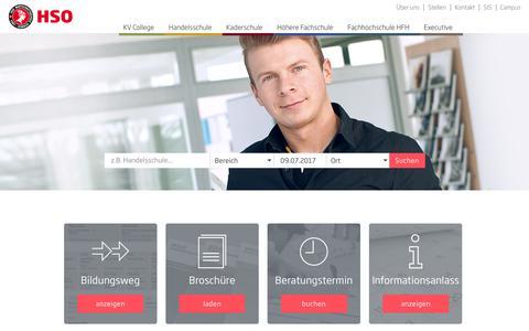 Screenshot of Home Page hso.ch - HSO Wirtschaftsschule Schweiz | Witercho mit HSO - captured July 10, 2017