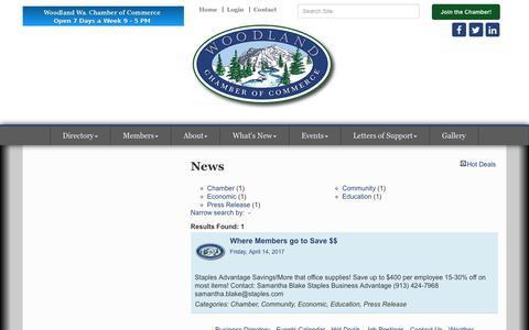Screenshot of Press Page woodlandwachamber.com - News - Woodland Chamber of Commerce & Tourism Info. Center - WA, WA - captured Oct. 22, 2017