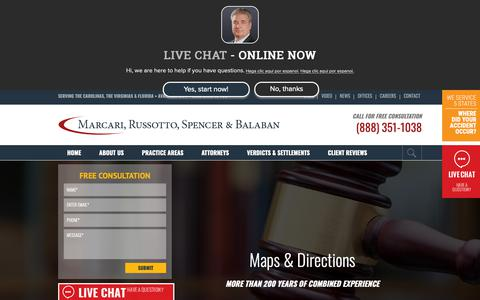 Screenshot of Maps & Directions Page donmarcari.com - Maps & Directions   Marcari, Russotto, Spencer & Balaban - captured Oct. 1, 2018
