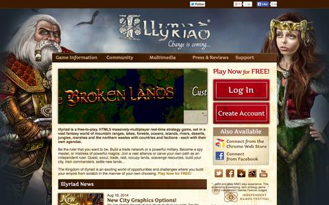 Screenshot of Home Page illyriad.co.uk - Illyriad - Carve your Empire, Change the World! - captured Sept. 24, 2014