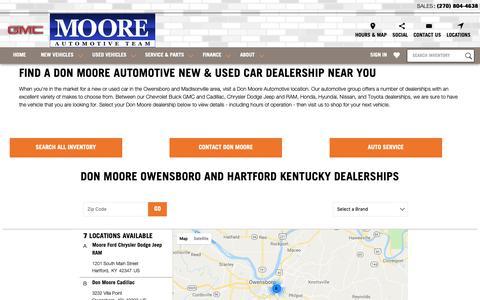 Screenshot of Locations Page mooredeals.com - Don Moore Dealership Locations | Owensboro & Hartford, Kentucky - captured Oct. 9, 2018