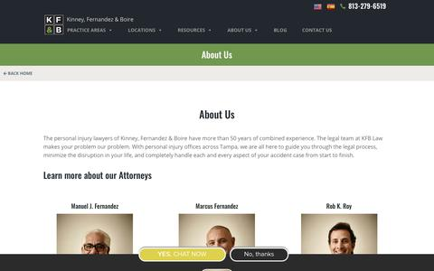 Screenshot of About Page kfblaw.com - Learn About KFB Law Personal Injury Attorneys in Tampa - captured June 29, 2018