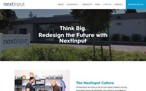 Screenshot of Jobs Page nextinput.com - NextInput | Redesign the Future with MEMs-Based Innovation - captured Oct. 20, 2018