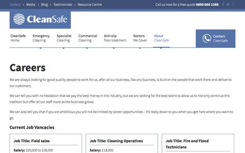 Screenshot of Jobs Page cleansafeservices.co.uk - Cleaning Jobs | Career Vacancies at CleanSafe Services - captured May 25, 2018