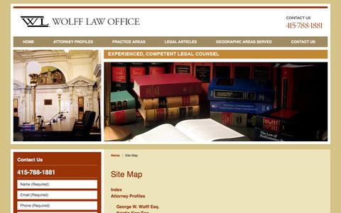 Screenshot of Site Map Page wolfflaw.com - San Francisco Construction Law Lawyers :: Site Map :: Oakland Litigation Attorneys - captured Jan. 26, 2016