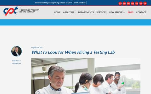 Screenshot of Blog cptclabs.com - Blog | Consumer Product Testing Company - captured Aug. 27, 2017