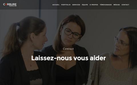 Screenshot of Contact Page agencecarbure.com - Contact carbure   Carbure, agence 360° de communic - captured Nov. 2, 2018