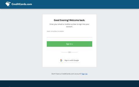 Screenshot of Login Page creditcards.com - Free Credit Score & Free Credit Report | CreditCards.com - captured June 20, 2017