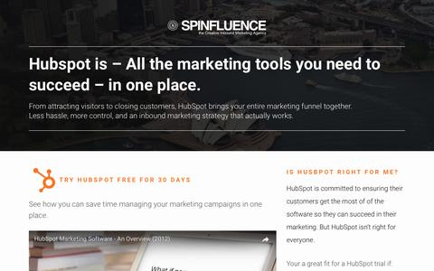Screenshot of Trial Page spinfluence.com.au - Hubspot Free Trial - Spinfluence - captured Aug. 11, 2017