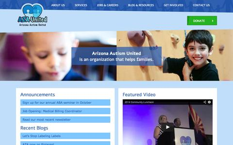 Screenshot of Home Page azaunited.org - Arizona Autism United - captured Oct. 4, 2014