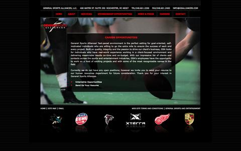 Screenshot of Jobs Page generalsportsalliances.com - General Sports Alliances - Naming Rights, Sales Representation, Sales Consulting, Evaluation, Negotiations - captured Sept. 29, 2014