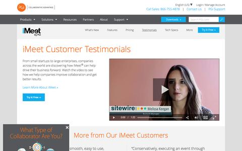 Screenshot of Testimonials Page pgi.com - iMeet Customer Testimonials & Reviews | PGi - captured Dec. 24, 2016