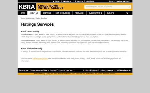 Screenshot of Services Page krollbondratings.com - KBRA - Kroll Bond Rating Agency, Inc. - captured July 9, 2018