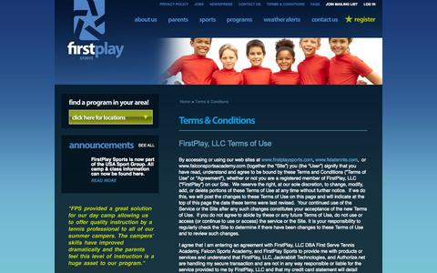Screenshot of Terms Page firstplaysports.com - Terms & Conditions | FirstPlay Sports and FirstPlay Tennis - captured Oct. 6, 2014