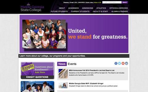 Screenshot of Home Page mga.edu - Middle Georgia State College - captured Jan. 23, 2015