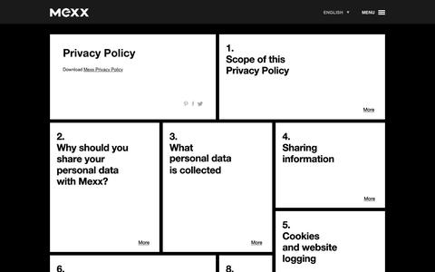 Screenshot of Privacy Page mexx.com - Privacy Policy - Other - Mexx.com - Fashion, Inspiration, Stores and more - captured Nov. 28, 2016
