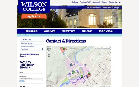 Screenshot of Contact Page Maps & Directions Page wilson.edu - Wilson College | Contact Us - captured Oct. 26, 2014