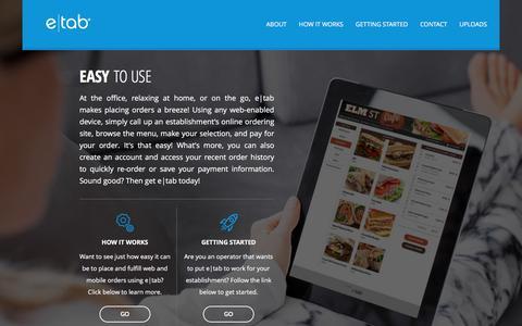 Screenshot of Home Page e-tab.com - Home | etab - captured Dec. 13, 2015