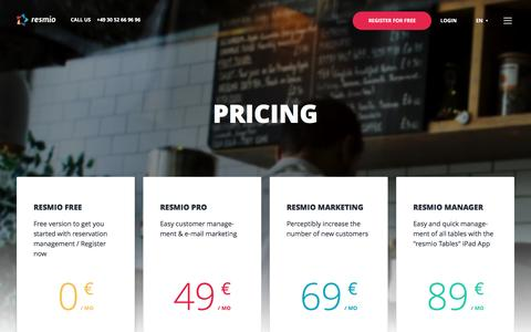 Screenshot of Pricing Page resmio.com - Pricing - Restaurant reservations & marketing | resmio - captured Dec. 6, 2016