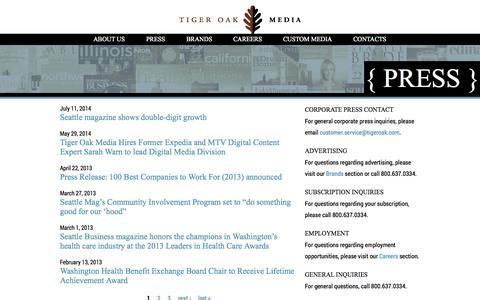 Screenshot of Press Page tigeroak.com - | tigeroak.com - captured Oct. 7, 2014